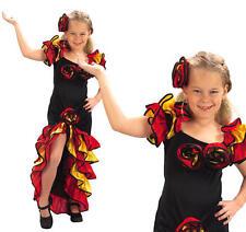 Childrens Girl Flamenco Fancy Dress Costume Spanish Dancer Salsa Outfit XL