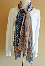"""NWT Women's Massimo Dutti Made in Italy Brown Blue Large 68"""" L Scarf Shawl Wrap"""
