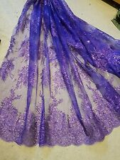 1m purple lace Embroidery sequin  Fabric scalloped  Floral  lace Wedding 52 ""