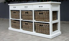 Hamptons style storage Sideboard Cupboard  - 6 rattan drawers - solid mahogany