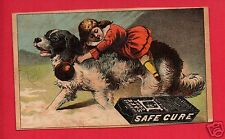 SAFE CURE ADVERTISING PAPER GIRL ON DOG