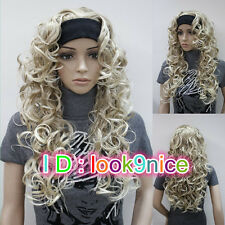 New! Lady Blonde Mixed Long Curly Wavy Daily 3/4 Half Wig Headband Cosplay Wigs