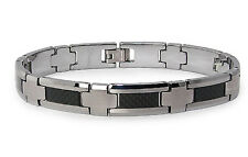 Tungsten Carbide w/ Black Carbon Fiber Inlay Mens Biker Bracelet 8.5""