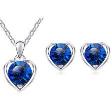 Dark Blue Silver Hearts Jewellery Set Stud Earrings & Pendant Necklace S678
