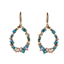 Exquiste Anthropologie Huge Sabra Oval Shaped Blue Green White Rhinestone Earrin