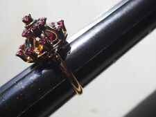 Vintage Victorian 14k Gold Tier Teardrop Princess Multi Gem Cocktail Ring 3.8g~6
