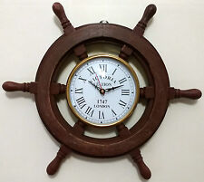 "Wooden 12"" Wall Clock Ship-Wheel Design Sheesham Wood Vintage Antique Hand Craft"