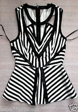 NWT bebe black white cutout contrast striped sexy party peplum dress top XS 0 2