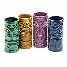 4 Tiki Tumblers Ceramic Hawaiian Luau Party Mugs Glasses