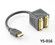 8inch HDMI Male to DVI-D (Digital) 2-Female Y-Splitter Adapter Cable, YS-016