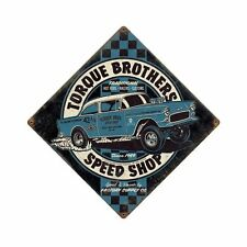 Torque Bros Speedshop Chevy Bel Air Gasser Retro Vintage Sign Blechschild Schild