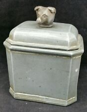 "Vintage Heavy Pewter Tea Caddy With Bears Head Finial,  4 3/8"" Wide"