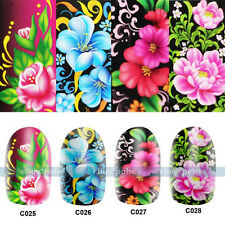 Wholesale 40pcs Nail Art Tips Flower Packs Decal Wrap Water Transfer Sticker New