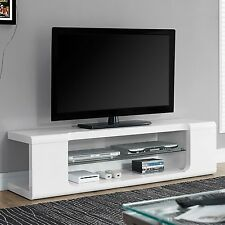 TV Entertainment Center Modern Stand Contemporary Unit White Console Glass 59""