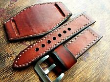 24mm Vintage AMMO SWISS Handmade leather watch strap with pad, army ,luminor