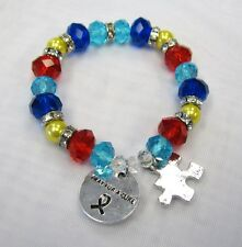 Silver Plated Multicolor Crystal Beaded Autism Awareness Puzzle Charm Bracelet