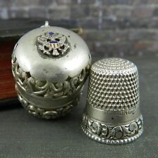 Antique Great Seal of US Foster & Bailey Sterling Silver Thimble Holder