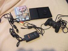 Black Sony Playstation 2 PS2 Slim Console System Complete w/ 3 Games NICE!!!