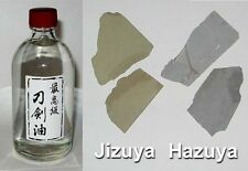 Japanese Sword Choji Oil 100ml & 20gm Hazuya Jizuya Stones 5 ONLY at this price!