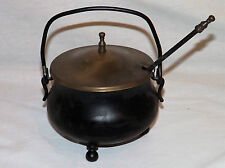 Vintage Smudge Pot Cauldron Kettle w Brass Lid Fire Starter Pumice Wand Antique