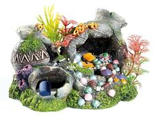 Bubbling Greek Urns & Jewels & Airstone & Plants Fish Tank Coral Aquarium Cave