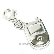 Sterling Silver Mobile Cellular Phone Dangle European Bead Charm