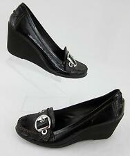 Geox Respira Buckle Wedges Brown Crinkle Patent Leather Sz 9.5 Worn 1X!