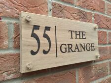 Oak House Sign Personalised Engraved Wooden Name Plaque Modern