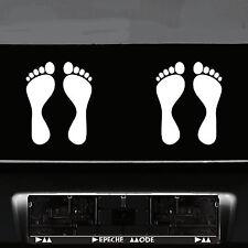 2 Paar 4 Füße 20cm weiß Fuß Abdruck Aufkleber Auto die cut Tattoo Deko Folie