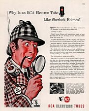 WWII AD RCA ELECTRON TUBES SHERLOCK HOLMES PIPE HAT MAGNIFYING GLASS