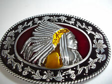 Native  Belt Buckle Black  Gold and Silver Tone Oval Raised Indian Chief