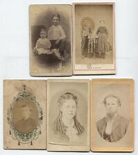 CDV CHILDREN, MEN, WOMAN, 5 SET. ID AND MAKER MARKS.
