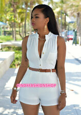 Sexy Womens sleeveless V neck Bandage Bodycon Short Jumpsuit Romper Trousers