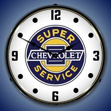 New Super Chevrolet Service LIGHT UP clock   1955 - 1984 Chevy car clocks avail