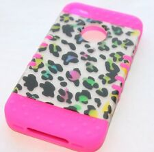 iPHONE 4 4G 4S - HARD & SOFT RUBBER HIGH IMPACT HYBRID CASE PINK LEOPARD CHEETAH