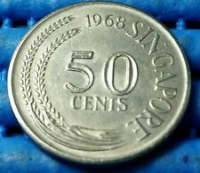 1968 Singapore 50 Cents Circulated Lion Fish Coin