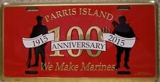 Aluminum Military License Plate U S Marine Corps Parris Island Centennial NEW