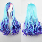 Anime Blonde Blue Silver Color Wavy Curly Hair Girl Lolita Cosplay Party Wig