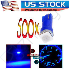 500X Blue T5 1-5050SMD Wedge Dashboard Gauge Indicator LED Light Bulbs 70 74 73