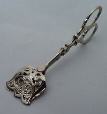 Vintage Decorative Solid Silver Handled Cake Server Tongs - Cutlery