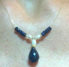 Genuine Sapphires 7ctw and white pearls solid 14k gold necklace pendant
