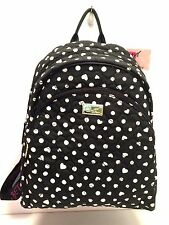 BETSEY JOHNSON Backpack *Black White Dot Quilted Heart*Large Travel Shoulder Bag