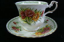 Royal Dover Flowers Fine Bone China Carnations Flowers Tea Cup & Saucer set