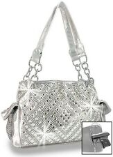 Bling Accented Fashion Handbag Silver