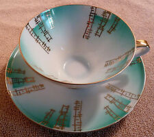 Vintage mid-century German Bavarian abstract turquoise and gold cup and saucer