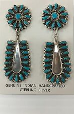 Native American Sterling Silver Handmade Turquoise Cluster Earring