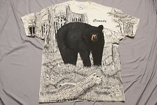 Vintage Canada Grizzly Bear all over print XL T-Shirt Nature Forest camping 90's