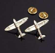 1pairs New Mirror Gold Airport Charm Fashion Collar Pins Airplane Brooch