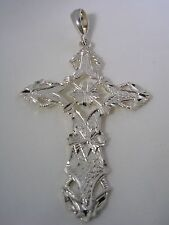 CROSS PENDANT WITH DIAMOND CUT AND HIGH POLISHED FINISH IN STERLING  SILVER