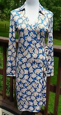 MINT Diane von Furstenberg DVF New Jeanne Two Coral Leaves Blue Wrap Dress 12